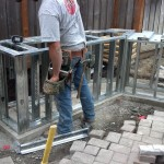 Steel framing installed for backer board