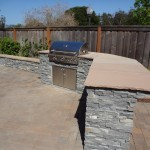 Completed island with large stone slab counter