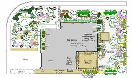 Front and Back Yard Planting Plan Layout for Large Corner Lot