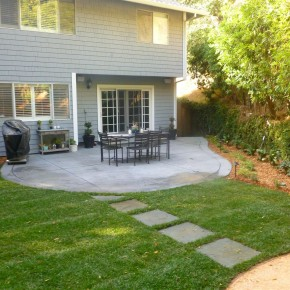 Bluestone stepping stones and concrete patio