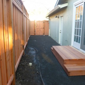 Perimeter fence with clear Redwood landing, San Rafael, Ca