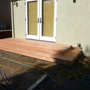 Clear grade redwood landing for French Doors
