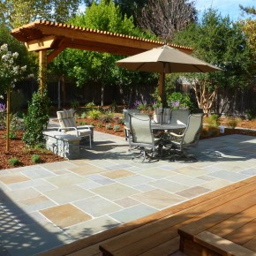 Back Yard Bluestone Patio and Redwood Arbor