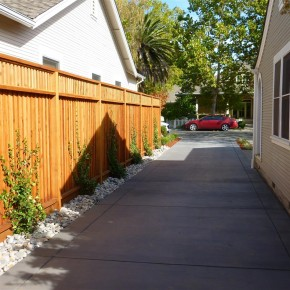 Front Yard Concrete Driveway and Redwood Fence