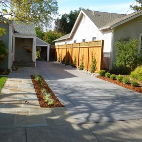 Front Yard Concrete Driveway and Bluestone Entryway