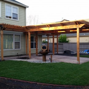 Petaluma project- Redwood arbor and concrete patio