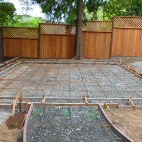 Kentfield project- rebar and form set for concrete patio