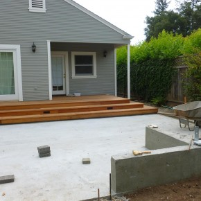 Sonoma project- concrete sub-slab, seat walls and deck in progress