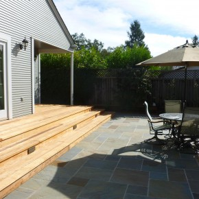 Sonoma project- bluestone patio and Redwood deck