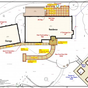 Colored concrete layout and scoring plan
