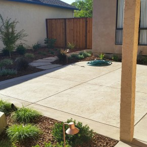 Stamped concrete courtyard