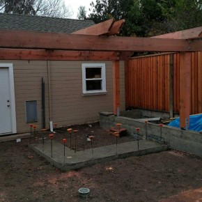 Foundation work for BBQ island and rear pergola in progress
