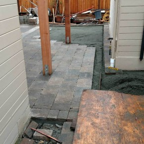 Rear paver patio installation