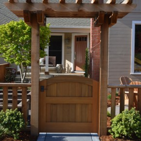 Petaluma Project- custom cedar entry gate and pergola