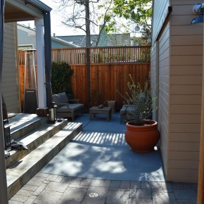 Petaluma Project- slate steps, colored concrete and pavers meet