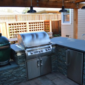 Petaluma Project- BBQ Island with Firemagic grill, outdoor fridge and Big Green Egg's nest