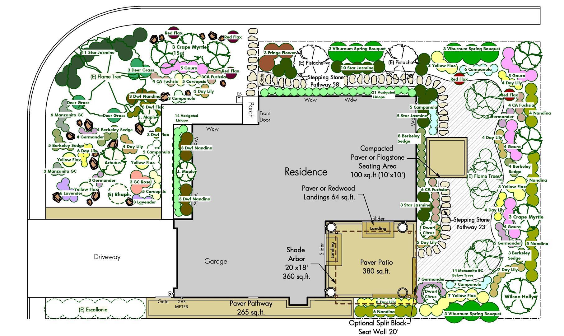From the Drawing Board- Petaluma Planting Plan | Turned Earth on Backyard Layout Planner id=43554